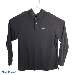 Tommy Bahamas Black Long Sleeve Polo Shirt XL